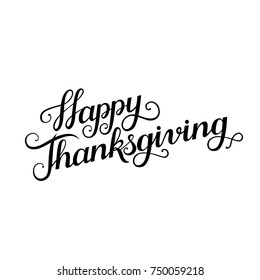 Happy Thanksgiving copperplate lettering. Thanksgiving day modern calligraphy script. Letters for greeting card.
