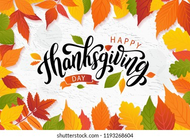 Happy thanksgiving day with autumn leaves. Hand drawn text lettering for Thanksgiving Day. Vector illustration. Script. Calligraphic design for print Thanksgiving greetings card, shirt, banner, poster