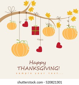 Happy Thanksgiving Day background with autumn maple leaves and pumpkins
