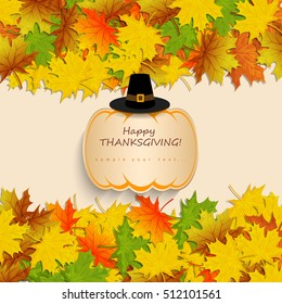 Happy Thanksgiving Day background with pumpkin with autumn leaves