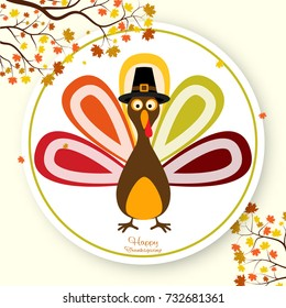 Happy Thanksgiving Day background with turkey. Vector illustration.