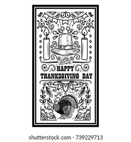 Happy thanksgiving day. Banner template with pumpkin, turkey. Design elements for poster, banner, card. Vector illustration