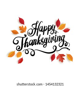 happy thanksgiving day. beautiful hand drawn lettering with dynamic shapes. background, card, banner and poster design.