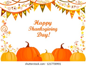 Happy thanksgiving day! Beautiful Holiday Autumn. Celebration white background with garland, turkey, orange pumpkin, golden leaves and place for your text. Sale. Horizontal banner. Vector illustration