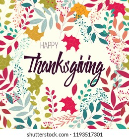 Happy Thanksgiving day card with floral decorative elements, colorful design, vector illustration