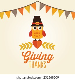 Happy Thanksgiving Day card, poster or menu design with bunting flags and cute owl in pilgrim hat sitting on a heart. Message reads Giving Thanks.
