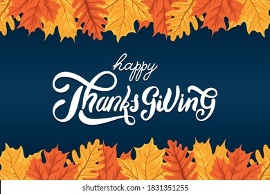 happy thanksgiving day celebration lettering with leafs autumn frame vector illustration design