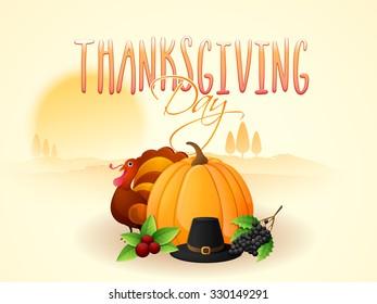Happy Thanksgiving Day celebration with Turkey Bird, pumpkin and pilgrim hat on nature background.