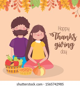 happy thanksgiving day couple with pie pumpkin basket and fruits vector illustration