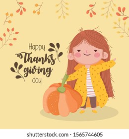 happy thanksgiving day cute girl with pumpkin branches decoration vector illustration