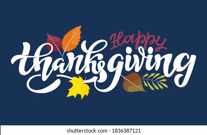 Happy ThanksGiving Day - cute hand drawn doodle lettering label. Give thanks. Be thankful.