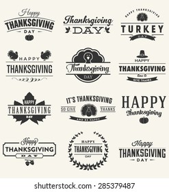Happy Thanksgiving Day Design Collection - A set of twelve dark colored vintage style Thanksgiving Designs on light background