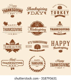 Happy Thanksgiving Day Design Collection - A set of twelve vintage style Thanksgiving Designs on light background
