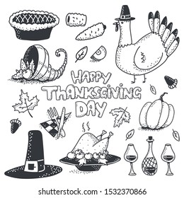Happy Thanksgiving day doodle sketch element vector set isolated on a white background.