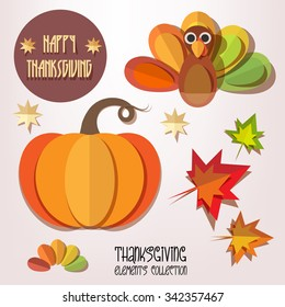 Happy Thanksgiving Day elements set - pumpkin, turkey, autumn leaves isolated. Paper cut out style vector illustrations.