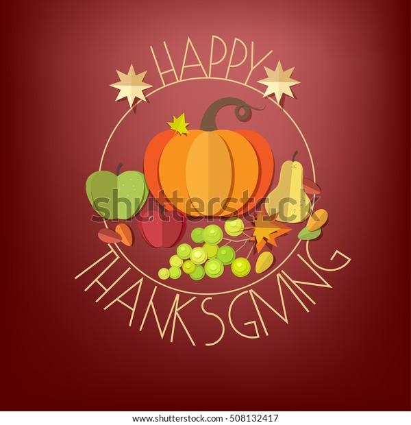 Happy Thanksgiving Day elements set - pumpkin, apple, grapes, pear, autumn leaves isolated. Paper cut out style vector illustrations.