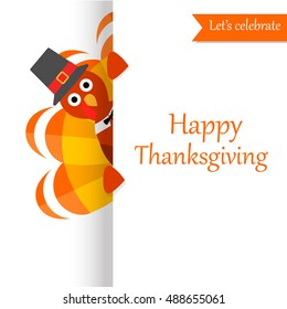 Happy Thanksgiving Day festive greeting card with funny turkey character. Can be used for poster design, flyer,  card,  banner