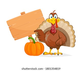 Happy Thanksgiving Day. Funny Thanksgiving Turkey bird pointing on placard. Vector illustration on white background