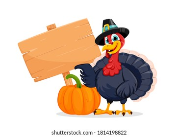 Happy Thanksgiving Day. Funny Thanksgiving Turkey bird cartoon character standing near pumpkin and wooden sign. Vector illustration on white background
