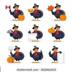 Happy Thanksgiving Day. Funny Thanksgiving Turkey bird cartoon character, set of nine poses. Vector illustration on white background