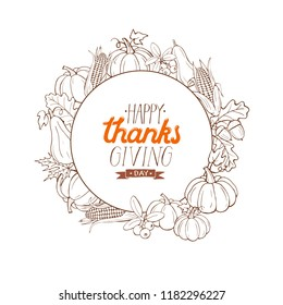 Happy thanksgiving day greeting card in sketch style. Thanksgiving poster with autumn vegetables isolated on white background.