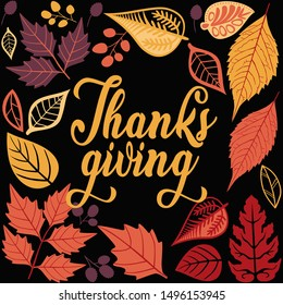 Happy Thanksgiving day greeting card, flyer, banner, poster templates. Hand drawn symbols, cute design elements, and handwritten lettering. Thanksgiving day vector card