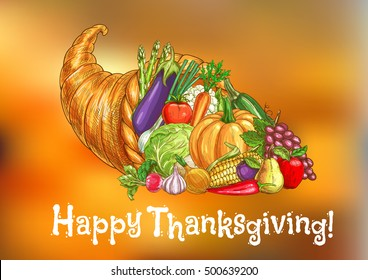 Happy Thanksgiving Day greeting card. Traditional harvest ripe fruits of thanksgiving celebration autumn season. Vector symbol of cornucopia with plenty of food for invitation banner, poster