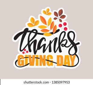 Happy Thanksgiving Day – hand drawn doodle lettering label art banner poster template