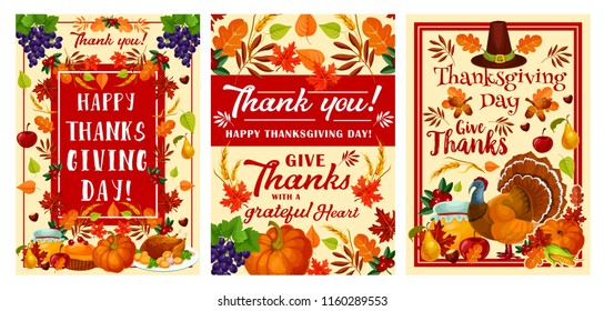 Happy Thanksgiving Day holiday greeting card set for autumn harvest celebration. November festival pumpkin, turkey and pilgrim hat banner, decorated by fruit, vegetable and fallen leaf, corn and wheat
