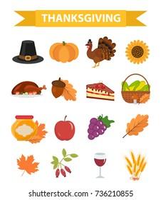 Happy Thanksgiving Day icon set, flat, cartoon style. Harvest festival collection design elements with turkey, pumpkin, pilgrim hat, pie, vegetables, fruits. Autumn holiday season. Vector illustration