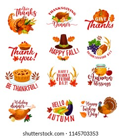 Happy Thanksgiving Day icons for autumn holiday greeting card. Fall season harvest pumpkin, turkey and fallen leaf, vegetable and fruit cornucopia, pilgrim hat, apple pie and wheat isolated symbols
