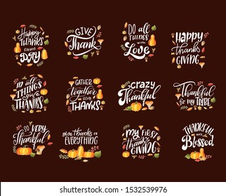 Happy Thanksgiving Day lettering for holiday. Design collection. Set of calligraphic quotes for cards, banners, posters. Vector illustration