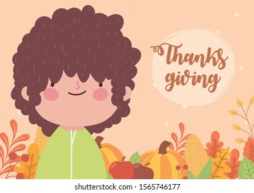 happy thanksgiving day little boy with pumpkins and fall foliage vector illustration