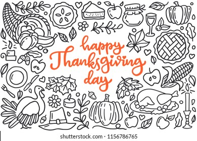 Happy thanksgiving day poster with greetings lettering and doodle illustration of celebration dinner, turkey, autumn harvest, pumpkin, apple pie, cornucopia. Hand drawn black line art, cartoon style.