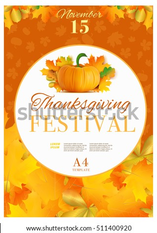 happy thanksgiving day poster template a 4 stock vector royalty