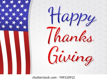 Happy Thanksgiving Day - poster with USA national flag. Vector.