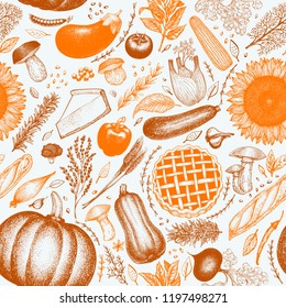 Happy Thanksgiving Day seamless pattern. Vector hand drawn illustrations. Thanksgiving backdrop in vintage style with harvest, vegetables, pastry, bakery. Autumn background.