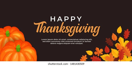 Happy thanksgiving day text background design with pumpkin fruit and dry leaves vector illustration banner template