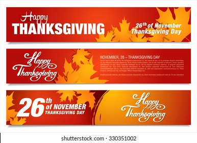 Happy Thanksgiving day! Three Thanksgiving banners.