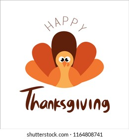 Happy Thanksgiving day with a Turkey bird. Vector Ilustration EPS 10.