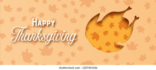 Happy Thanksgiving day with turkey paper art on yellow orange background. Holiday and festival concept. Decoration and greeting card theme. Papercraft and origami for dinner food restaurant menu