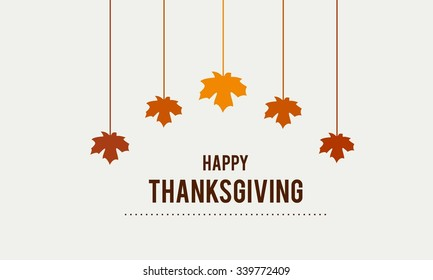 Happy Thanksgiving Day Typographic Poster Design template. Thank you greeting card template. Background full of branches and hanging maple Leaves.  Happy Thanksgiving banner. Badge vector illustration