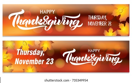Happy Thanksgiving Day typography vector design for the banner. Two Thanksgiving banners.