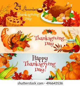 Happy Thanksgiving Day. Vector banners with traditional table plenty of food, roasted turkey, cornucopia with pumpkins, fruits and vegetables. Decoration for thanksgiving greeting cards