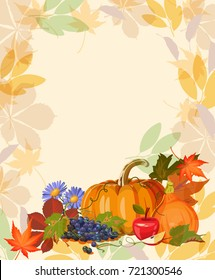Happy Thanksgiving day vector greeting card with autumn fruit, vegetables, leaves and flowers. Harvest festival.
