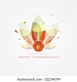 Happy Thanksgiving day vector illustration in modern geometric design style with abstract polygonal turkey with colorful feathers in autumn colors