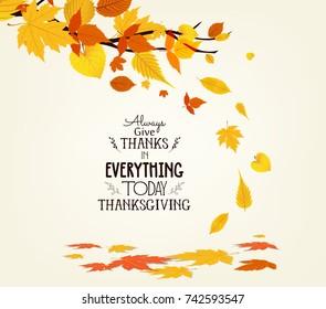 Happy Thanksgiving Day. Vector Illustration of an Autumn Design. Autumn tree background