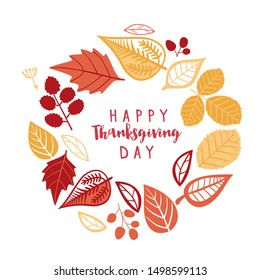 Happy Thanksgiving day wreath, autumn leaf frame, circle greeting card. Greeting card with decorative wreath. colorful design. vector illustration