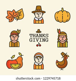 Happy Thanksgiving day.Happy Thanksgiving set of elements for design. Vector illustration in a cartoon style,isolated on white background.