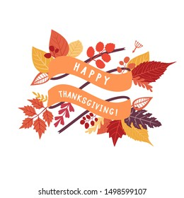Happy Thanksgiving dayribbon with autumn leaf. Autumnal greeting card, flyer, banner, poster template. Hand drawn flowers and leaf.